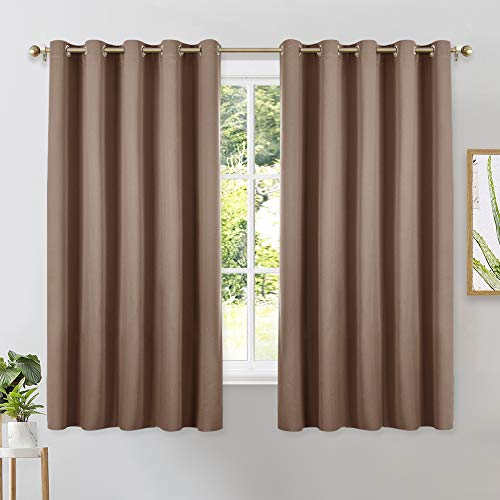 NICETOWN Blackout Window Curtains and Drapes for Kitchen, Window Treatment Thermal Insulated Solid Grommet Blackout Drapery Panels (Set of 2, 70 by 63 inches, Cappuccino)