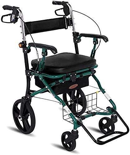 Walker Rollator Walker, 4 ruedas de aluminio ligero, plegable, altura ajustable, con ruedas, asiento acolchado, cesta, frenos bloqueables