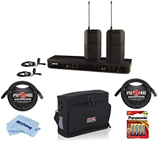 Shure BLX188/CVL Dual Channel Lavalier Wireless System, Includes 2x BLX1 Bodypack Transmitters, BLX88 Dual-channel Receiver, 2x CVL Lavalier Mics, H10: 542.125-571.800MHz - With Accessory Bundle