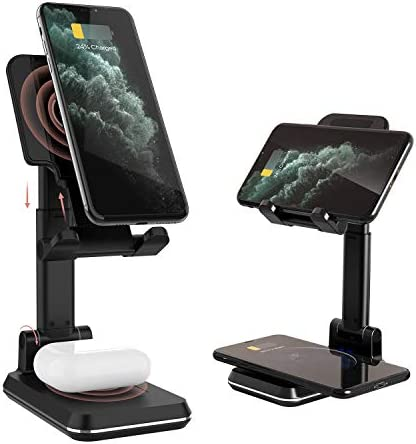 Kertxin 2 in 1 Wireless Charger Phone Stand Angle Height Adjustable Dual 10W Wireless Charging product image