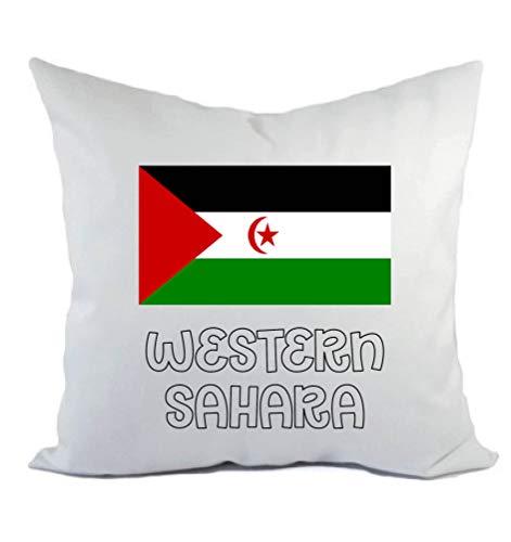 Tipolitografía Ghisleri cojín blanco Western Sahara con bandera funda y relleno 40 x 40 cm de poliéster