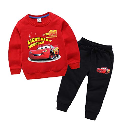 Coo-kid L-melo Store Lightning McQueen Hoodies-Little Boys Pullover Long Sleeve Hooded Pants Sets