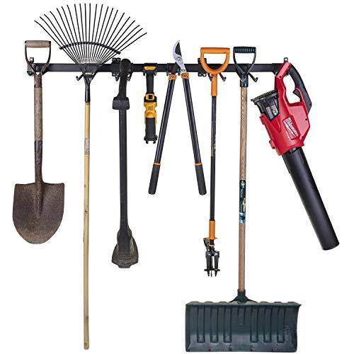 Heavy Duty Garage Tool Organizer   Garden Tool Storage   64 Inch 10 Heavy Duty Storage Hooks   Powder Coated Steel   Holds Up to 400lbs   New Improved