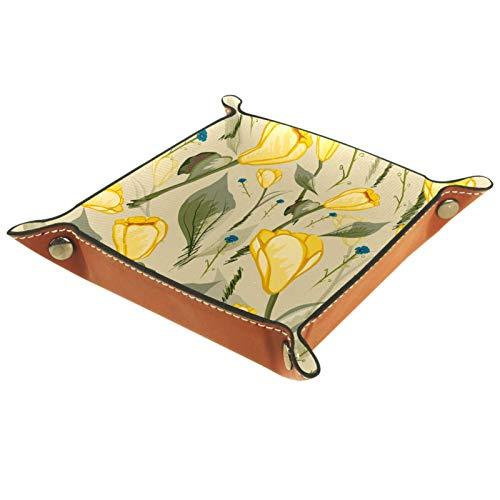 AITAI Bandeja de valet de piel vegana para mesita de noche, organizador de escritorio, plato de almacenamiento Catchall amarillo tulipán flor verde hojas retro
