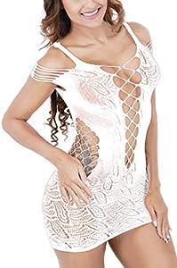 UMIPUBO Ropa Interior Mujer Ropa de Dormir Encaje Atractivo Malla de la Mujer Lencería Hueca Rejilla Babydoll Talla única Ropa de Dormir (Blanco)