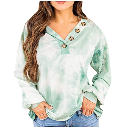 Purchase AHUIGOYCE Womens Long Sleeve V-Neck Button Causal Tops Blouse T Shirt Tops Pullover Sweater...