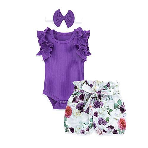 Newborn Baby Girl Clothes Ruffle Sleeveless Romper + Floral Short Pants + Headband Summer Outfit 3Pcs Set 12-18 Months