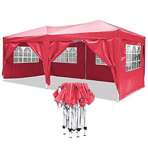 Carpa de 3 x 6 para exteriores, resistente al agua, con 6 paredes laterales, cubierta impermeable 210D (rojo, 3 x 6 m)