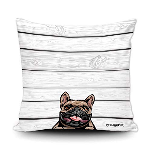MALIHONG Dog Throw Pillow Cover Cute Peeking Dog French Bulldog Wooden Background Simple Modern Pillowcase for Sofa Bed Home Decor 16x16 Inch