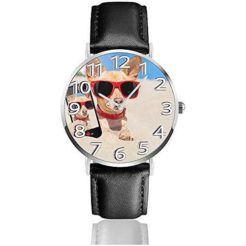Perros Chihuahua Gafas de Cuero Reloj Unisex 3D Impreso Relojes de Pulsera...