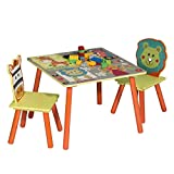WOLTU 1 Table d'enfant + 2 chaises Ensemble de Meubles pour Enfants Motif Animaux Cartoons Animation pour Enfants d'âge...
