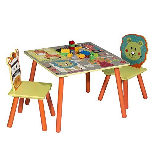 WOLTU SG006 Tavolo e Sedie per Bambini Gioco Tavolino con 2 Sgabelli Set Mobili per Soggiorno in Legno