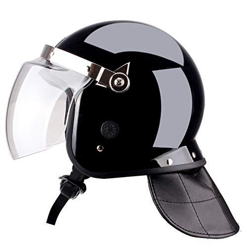 QZY Riot Helmet Safety Full Helm mit klarem Polycarbonat-Gesichtsschutz mit hoher Dichte, Tactical Airsoft Military Paintball SWAT Helm mit verlängertem Kinnschutz,Schwarz