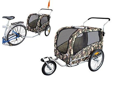 Polironeshop Argo - Remolque y carrito para bicicleta para el transporte de perros, camuflaje, Medium