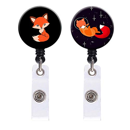 Badge Reel, 2 Pack Cute Sweet Fox Art Retractable ID Card Badge Holder with Alligator Clip, Name Decorative Badge Reel Clip on Card Holders for Girls Nurse, Students, Teachers, Office Lady