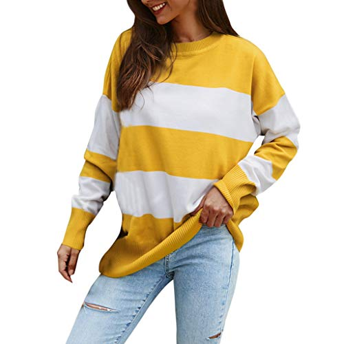 Best Prices! NANTE Top Loose Women's Blouse Stripe Splice O-Neck Knitting Long Sleeve Sweater Ladies Tops Womens Clothes Costume Clothing (Yellow, L)