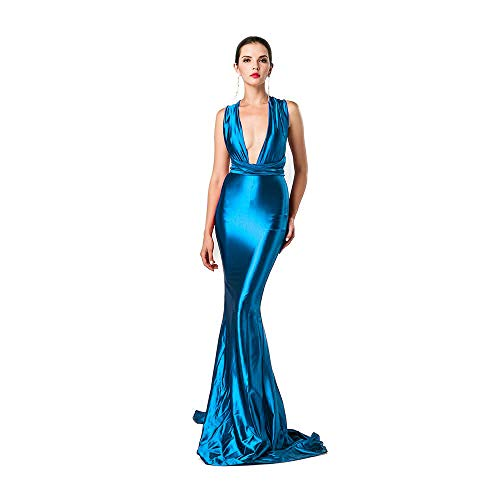 Miss ord Women Sexy V Neck Sleeveless Long Halter Party Dres Blue S
