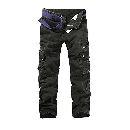 "AYG Fit recta de carga pantalones casuales pantalones de trabajo de algodón militar para Hombres W29/L31(ES 38)29""cintura/31""inseam Negro(black#015)"