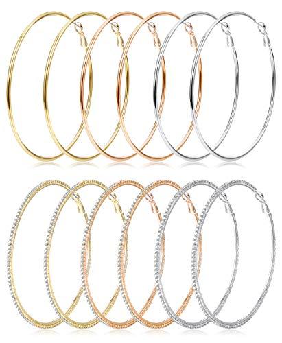Besteel 6 Pairs Big Hoop Earrings Gold Silver Rose Gold Plated Hoop CZ Round Hypoallergenic Dangle Earrings Set for Women Men