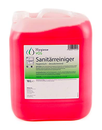 Hygiene Vos Sanitärreiniger 10 Liter. Entfernt Kalk von Armaturen, Fliesen, Duschabtrennungen sowie Urinstein und Wasserstein. Geeignet für Hochdruckreiniger