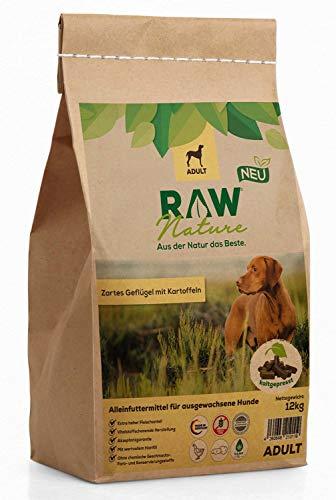 RAW Nature Trockenfutter Adult - Natürlich Kaltgepresst - Getreidefreies Hundefutter - für ausgewachsene Hunde (12 kg)