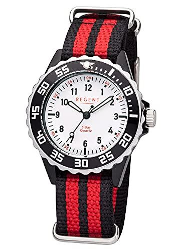 Regent Unisex-Kinder Analog Quarz Uhr mit Textil Armband 12400277