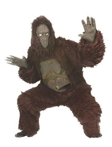 Karnevalsbud - Damen Frauen Kostüm Ganzkörper Affe Onesie Fellkostüm Monkey, perfekt für Halloween Karneval und Fasching, One Size, Braun