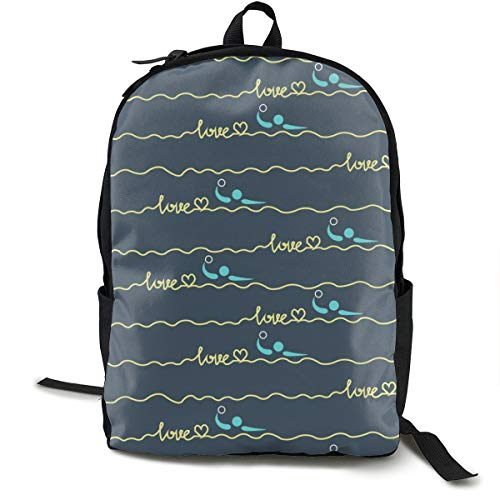 Boys Grils Rucksack Back To School Gift - Love Water Polo Heart Best Mom Gift Prints Carry On Bag Casual College School Daypack Camping Outdoor Backpack, Casual Daypack Climbing Shoulder Bag