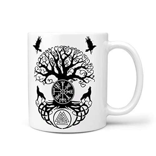 OwlOwlfan Tree of Life Vikings - Taza de cerámica, diseño de mito con asa para cafetería y bar, color blanco, 325 ml