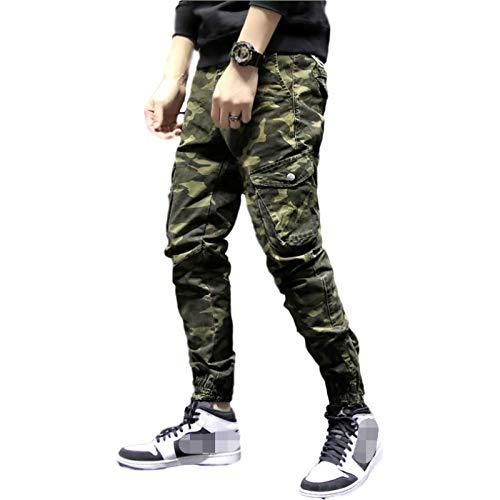 Katenyl Pantalones Cargo con Estampado de Camuflaje para Hombre, Moda con pies de Haz, Tendencia, Ropa de Calle, Pantalones Holgados Informales con múltiples Bolsillos 38