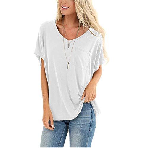 WGNNAA Damen Kurzarm T-Shirt Bluse Lässig Oberteile Rundhals Swing Tee Mode Tunika Vintage Sommer T Shirt mit Tasche Einfarbig Lose Shirt