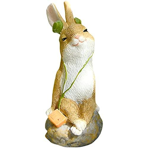 GJZEYBJE Decoración para el hogar Ornamento Estatuilla Lindos Adornos de Conejo Escuchar música Pastoral Animales pequeños macetas Adornos de Escritorio