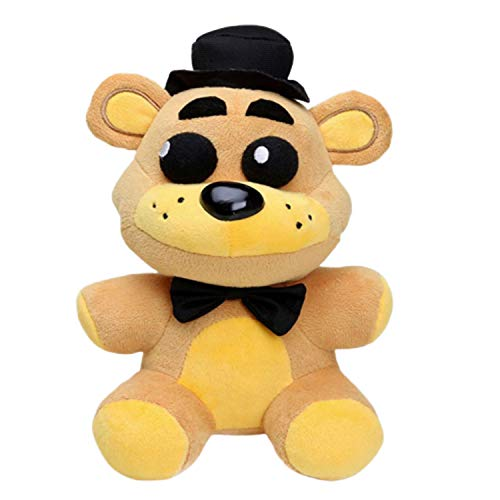 FNAF Toy Freddy Plushie Fazbear 25cm Toys Five Night at Freddy Golden Bear Nightmare Freddy Plush FNAF Plush Kid's Toy Stuffed Animal - Gift for FNAF Fans (Golden Black Hat)