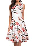 OWIN Women's Vintage Floral Lace Flared A-Line Swing Casual Party Cocktail Dresses Sleeveless White Orange
