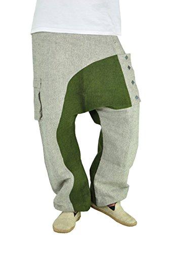 virblatt- Haremshose männer goa Hose Herren Aladinhose Baggy Jeans Hosen Harem – Kopfkino gy, Grun/grau, one size