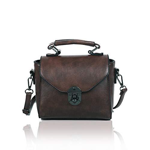 S.CHARMA - Bolso de mano para mujer, pequeño bolso de mano de piel soldada para mujer, paquete cuadrado