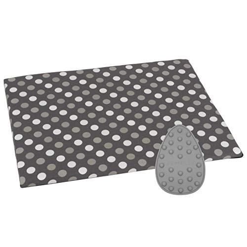 SEMPLIX Bügel Set – Bügelunterlage mit rutschhemmender Rückseite 30 x 40 cm und Mini Bügeleisenablage 10,5 x 15,5 cm (grau)