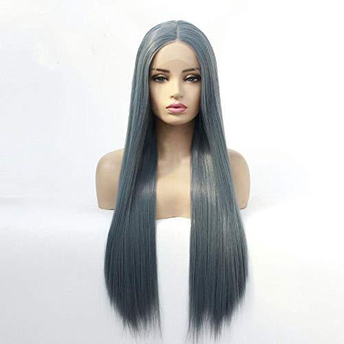 Rokerig grijs lang steil haar, 24 inch, front lace pruik, kunsthaar, zijde met chemische vezels op hoge temperatuur, pruik voor vrouwen om te feesten