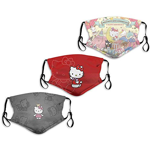 Face Mask Hello Kitty 45th Anniversary Sanrio Characters Dis-ney 3PC with 6 Filters Reusable Washable Adjustable Masks Men Women Made in USA
