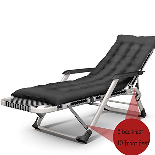 LILIJIA Portable Adjustable Office Break Lazy Lounge Reclining Chair,Home Beach Balcony Camping Fishing Multifunctional Backrest Chair,Double Roller Massage Device with Armrests,Black