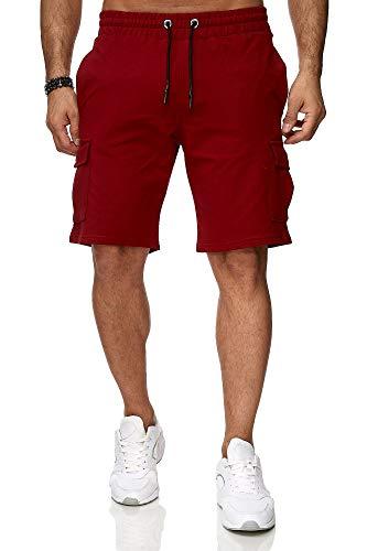 Reslad Kurze Hose Herren Cargo Bermuda Shorts Jogginghose Sport-Hose RS-5069 Bordeaux L