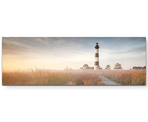 Eau Zone Wandbild auf Leinwand 120x40cm Steg zum Leuchtturm im Sonnenschein