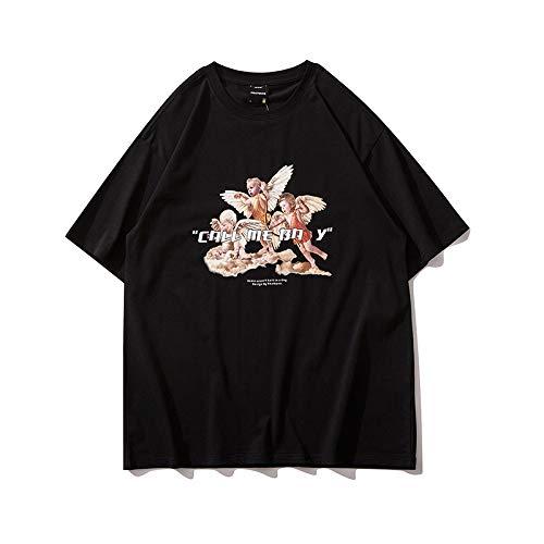 DREAMING-Camiseta de Hip-Hop, Sudadera de Verano de Manga Corta, Top Suelto de algodón con Cuello Redondo, Hombres y Mujeres Black Small