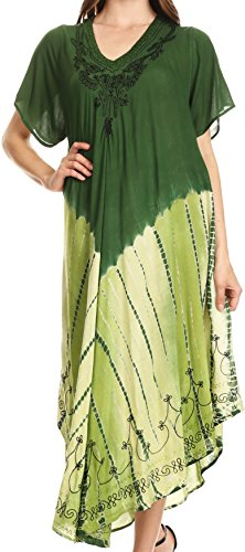 Sakkas 20SE Viveka Embroidered Caftan Dress - Forest Green - One Size
