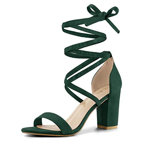 Allegra K Damen Peep Toe Lace Up Blockabsatz High Heels Sandalen Grün 41
