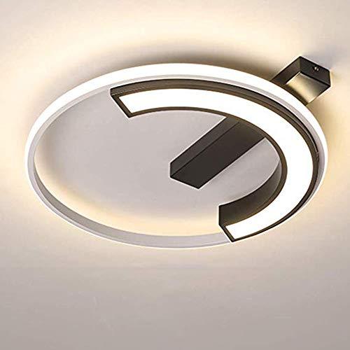 Moderne led-plafondlamp, plafondverlichting, dimbaar, woonkamer, 56 W, plafondlamp, rond design, creatief design, eenvoudig met afstandsbediening, lampenkap van metaal, acryl, binnen, slaapkamer, Ø56 cm × H 7 cm, wit + zwart