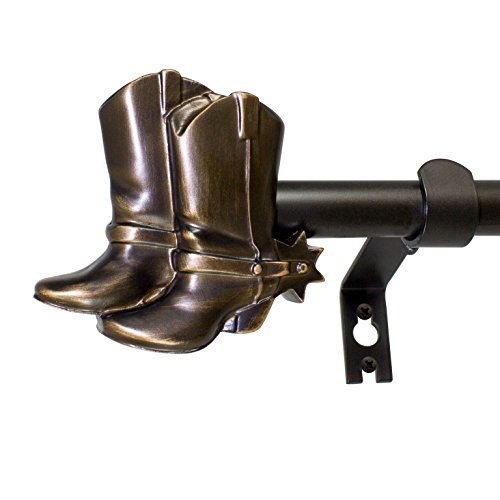 "Decopolitan 30593-48VB Cowboy Boots 5/8"" Curtain Rod Set, 48 to 86 Inches, Vintage Bronze"