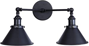 ATC Black Wall Light Sconce 2-Light Arm Adjustable Funnel-Shaped Lampshade Vintage E27 Wall Lamp Retro Industrial Luminaire for Cafe Bar Loft Decor