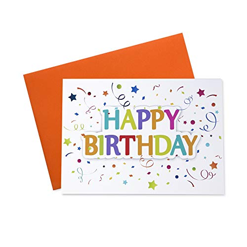 Birthday Greeting Cards - Festive Birthday - FBD200. Greeting Cards with a Festive Birthday Message and Colorful Confetti. Box Set Has 25 Greeting Cards and 26 Orange Colored Envelopes.