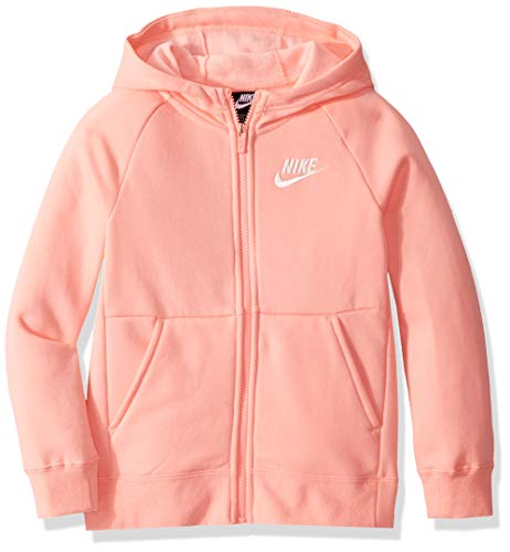 Nike Girl's NSW Full Zip Hoodie, Bleached Coral/White, Medium